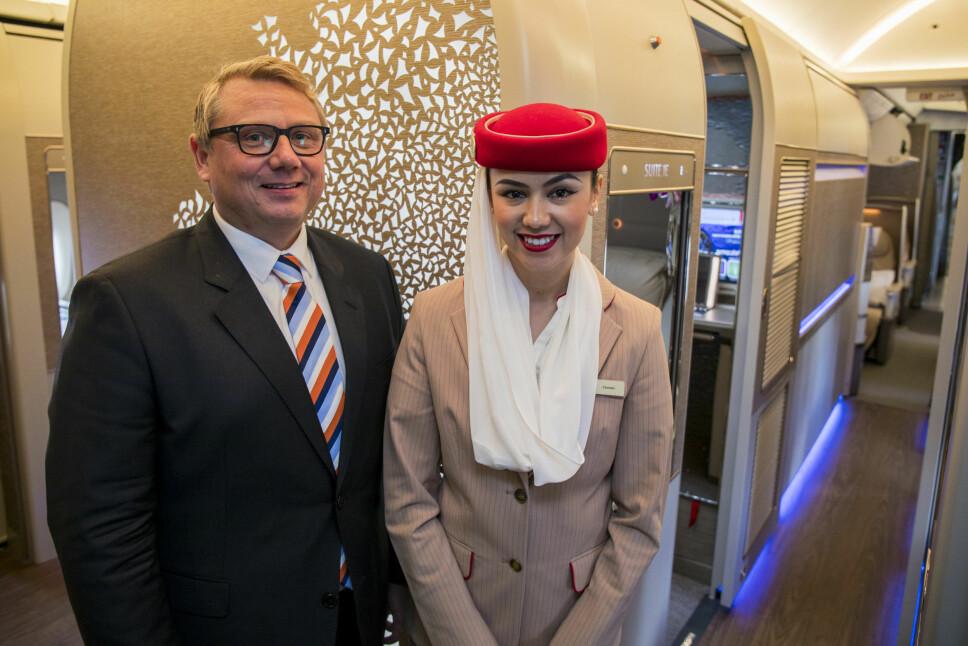<b>JUBILEUM:</b> Emirates norgessjef Terje Grue mener at 1. klasse er vanedannende.