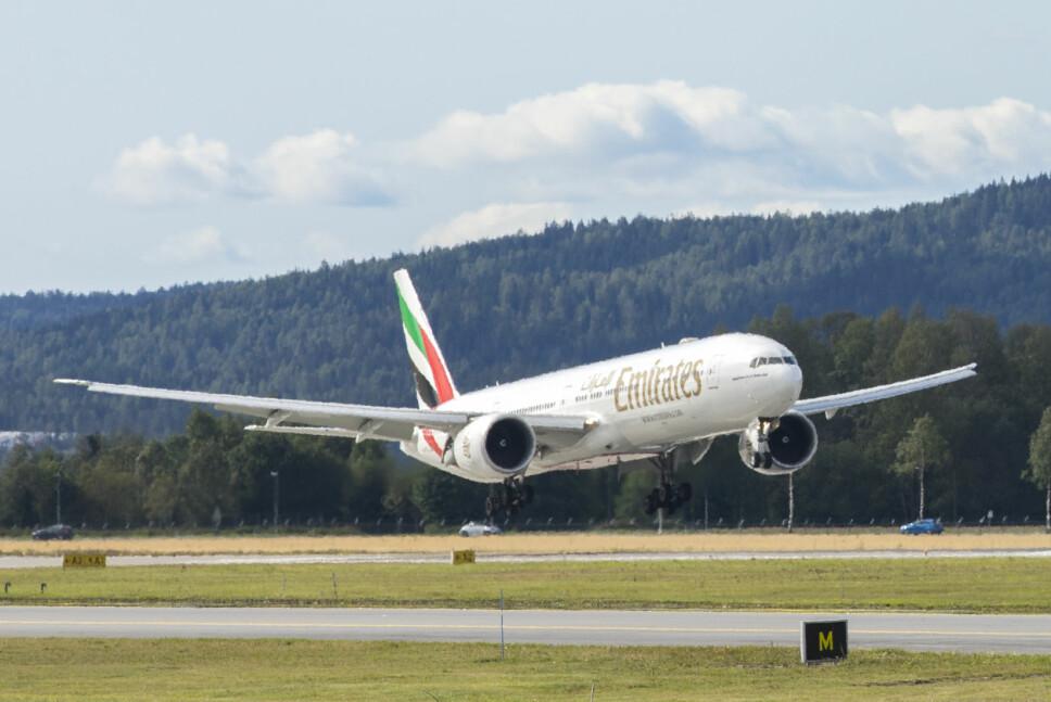 <b>NORSK RUTE:</b> Emirates`Boeing 777 har gjestet Oslo Lufthavn daglig i fem år.Foto: Emirates
