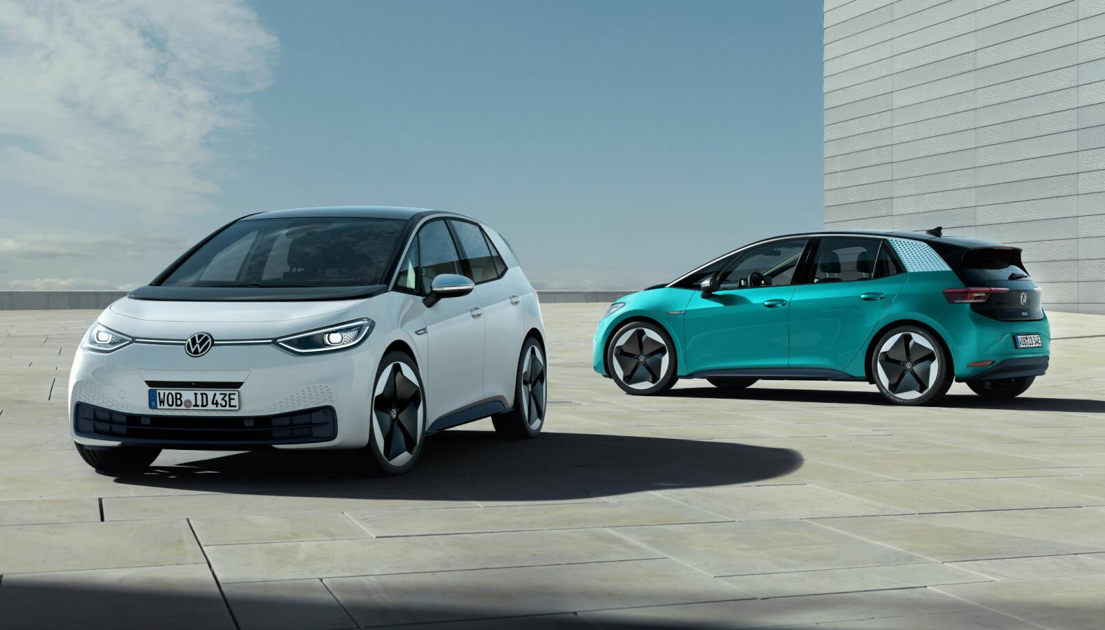 VERSJONER: Innstegsmodellen skal ha en rekkevidde på 330 kilometer med 45 kWh-batteri. Den vil koste under 30 000 euro. Deretter kommer versjonen med 58 kWh-batteri og en rekkevidde på 420 km. Toppmodellen skal ha er 77 kWh-batteri med en rekkevidde på 550 km. Du skal kunne hurtiglade ID.3 til en rekkevidde på 290 km på 30 minutter med 100 kW-lading.