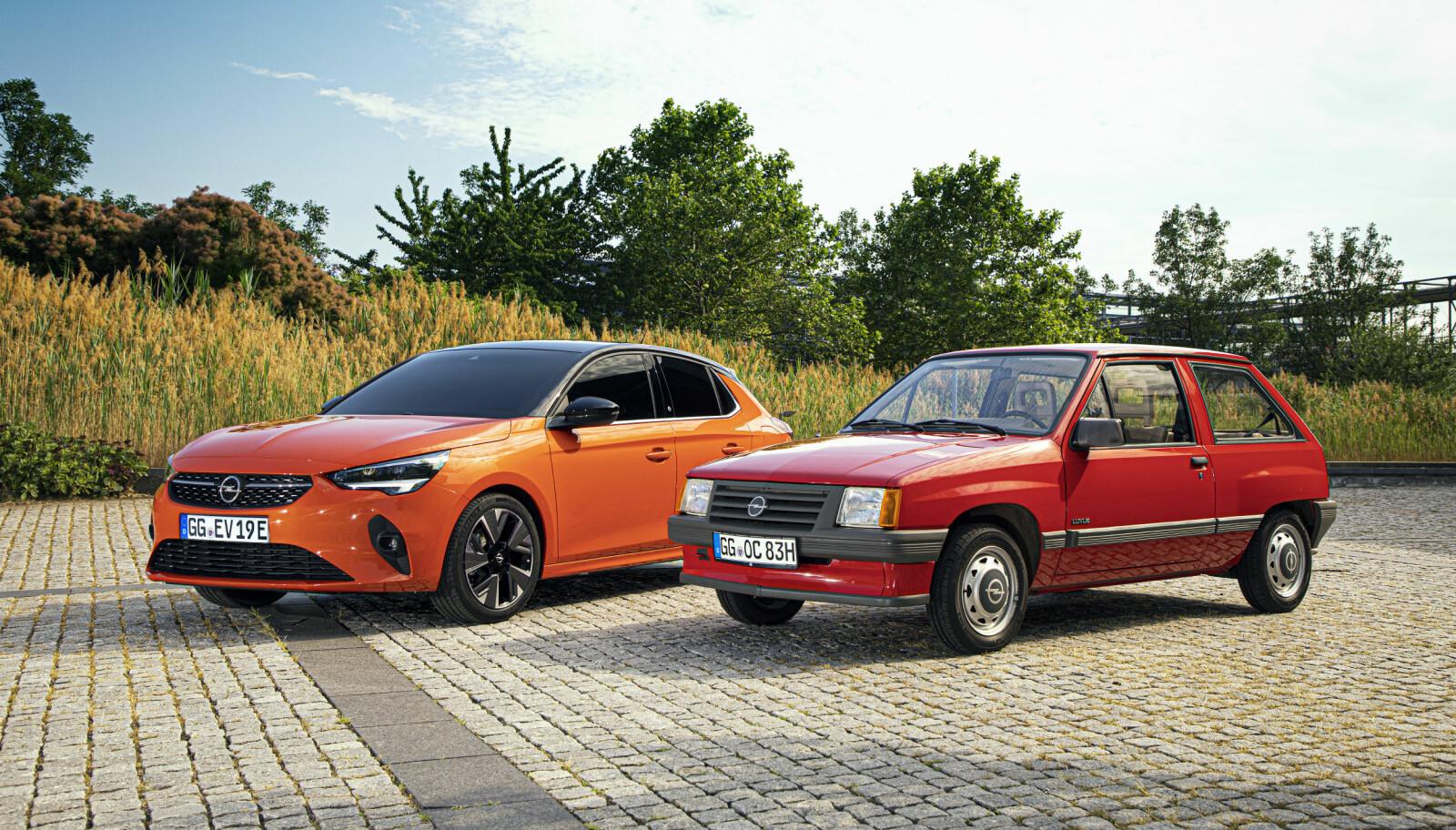 <b>GENERASJONER:</b> Opel Corsa fra 1983 og nye Corsa-e.
