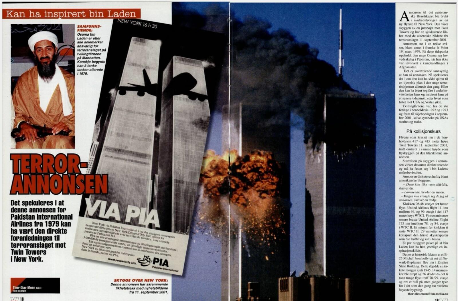 <b>INSPIRASJONSKILDEN:</b> Flere hevdet at Osama bin Laden kunne ha blitt inspirert av en annonse fra Pakistan International Airlines, PIA.