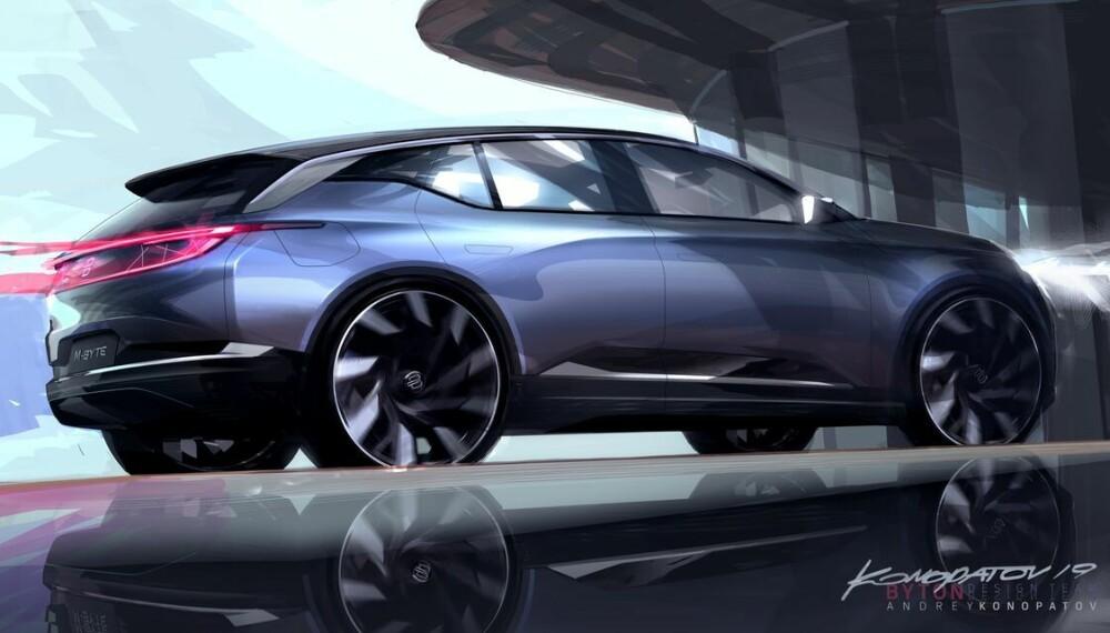 """<b>BYTE-SKISSE:</b> Produksjonsbilen blir nok ikke like """"smooth"""" som bilen på skissen."""